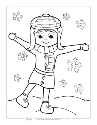 Girl Winter Coloring Page for Kids