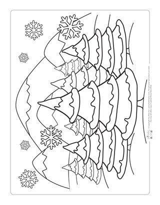 Winter Scenery Coloring Page for Kids