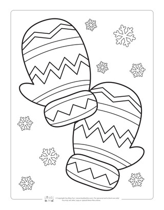 Mittens Coloring Page for Kids