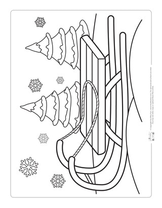 Sled Coloring Page for Kids