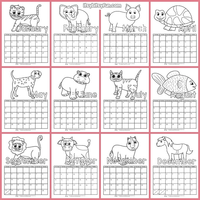 image relating to Printable Calendar titled Printable Calendar for Small children 2019 - Itsy Bitsy Entertaining