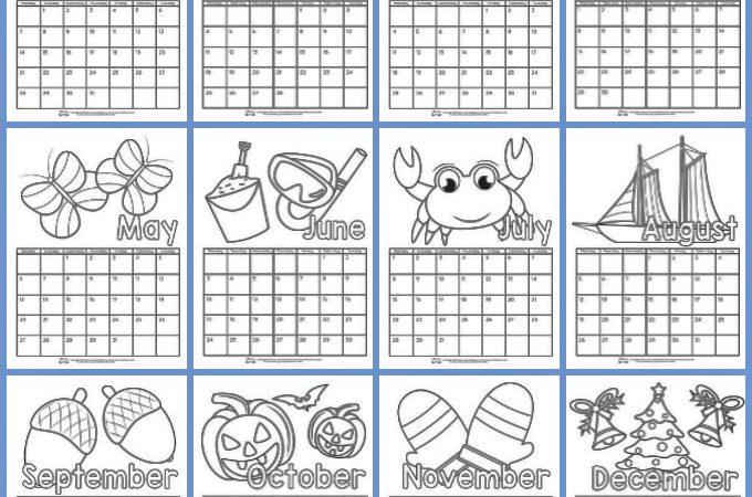 Printable Calendar for Kids to Color 2019