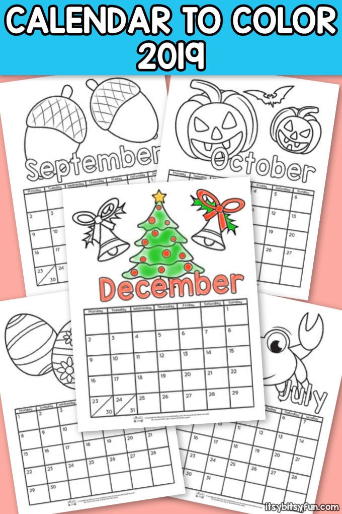 Printable Kids Calendar 2019 December Printable Calendar for Kids 2019   Itsy Bitsy Fun