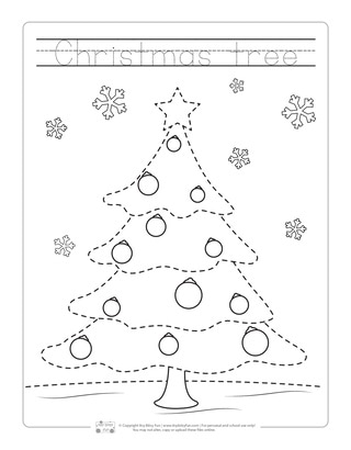 Christmas Tree Tracing Worksheets for Kids