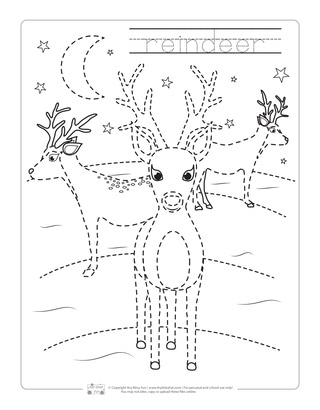 Reindeer Tracing Worksheets for Kids
