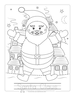 Santa Clause Tracing Worksheets for Kids