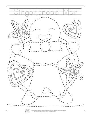 Gingerbread Man Tracing Worksheets for Kids