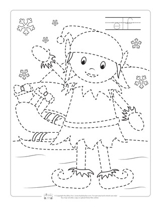 Elf Tracing Worksheets for Kids