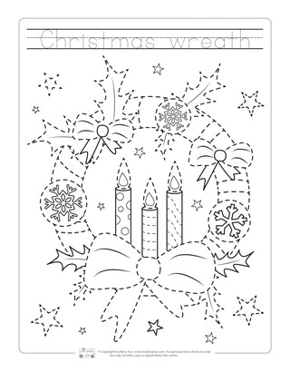 Christmas Wreath Tracing Worksheets for Kids
