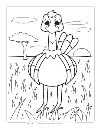 Ostrich Coloring Page for Kids