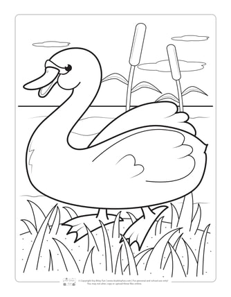 Swan Coloring Page for Kids