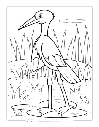 Stork Coloring Page for Kids