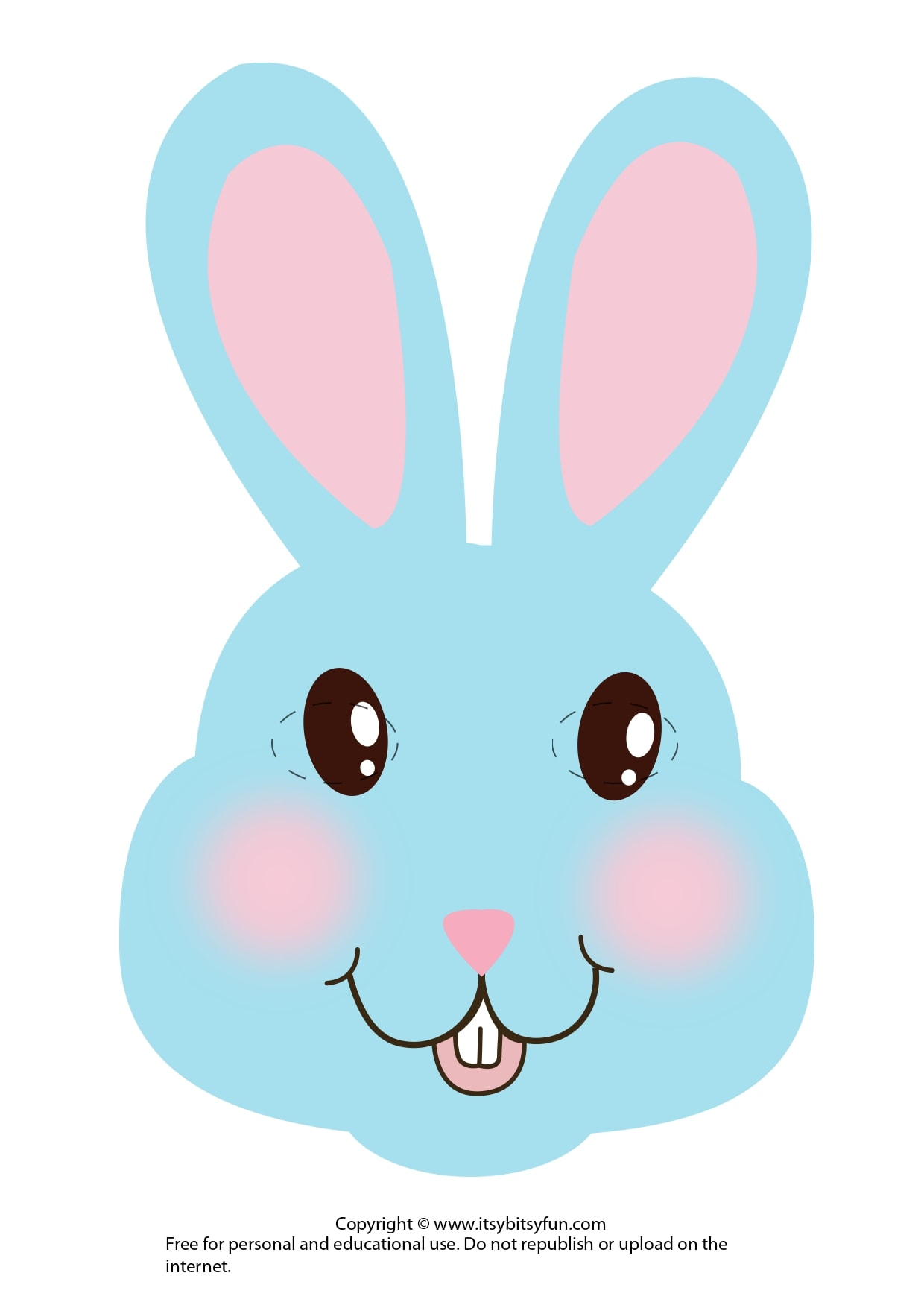 Blue White Bunny Easter Mask Template