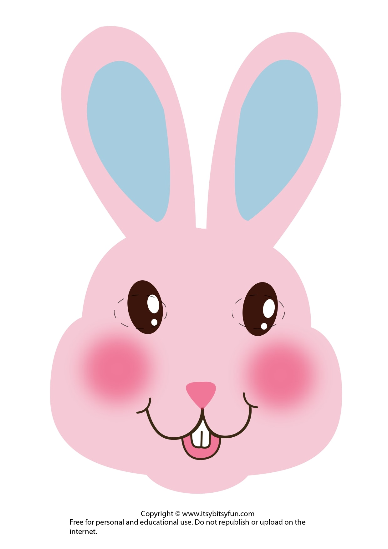 Pink Bunny Easter Mask Template
