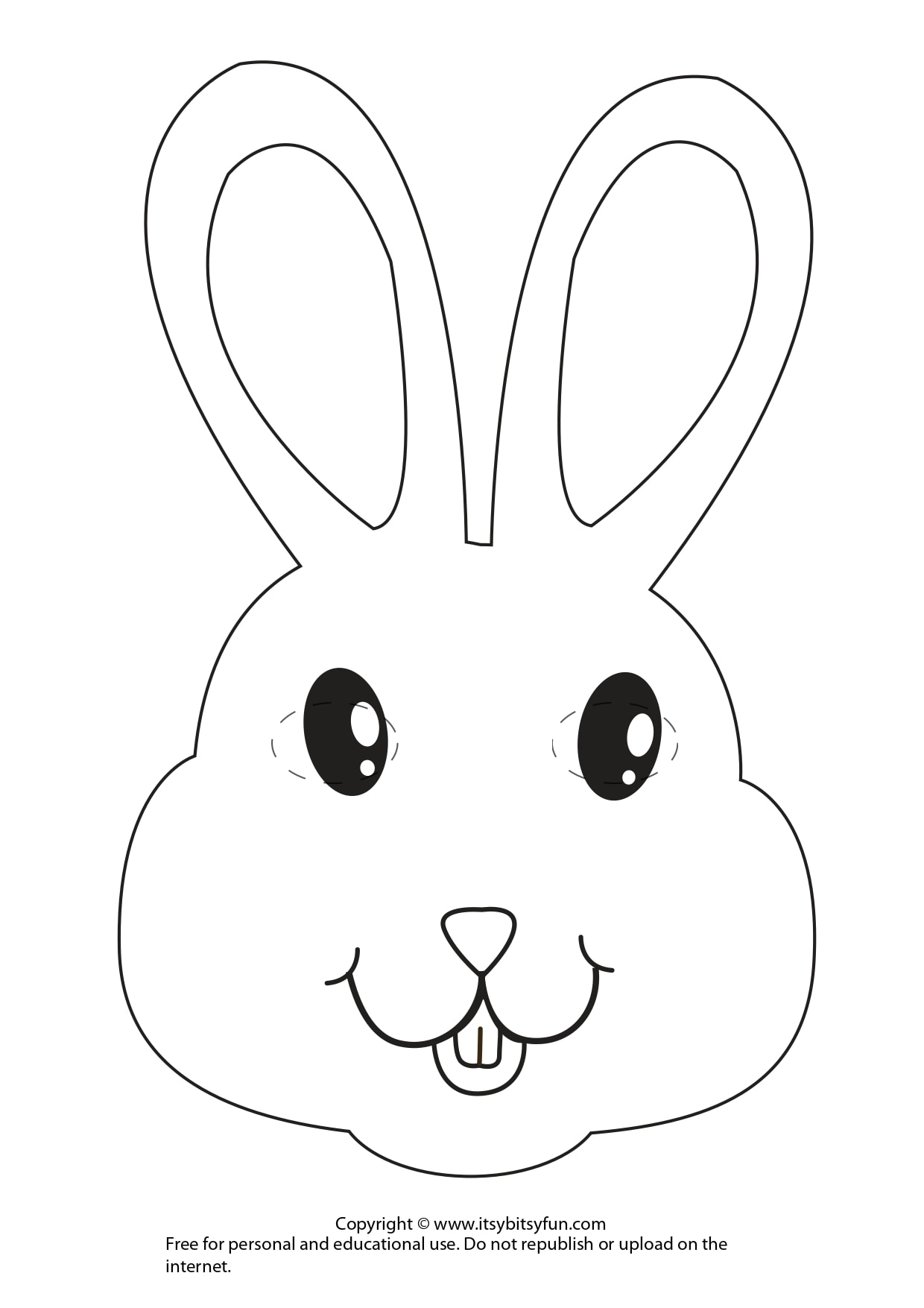 Black and White Bunny Mask Template