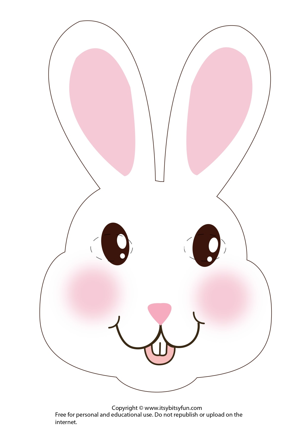 White Bunny Easter Mask Template