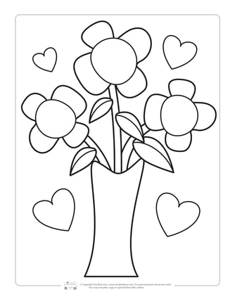 Flower Bouquet Mother's Day Coloring Page for Kids
