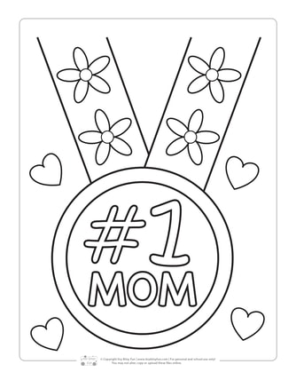 #1 Mom Mother's Day Coloring Page for Kids
