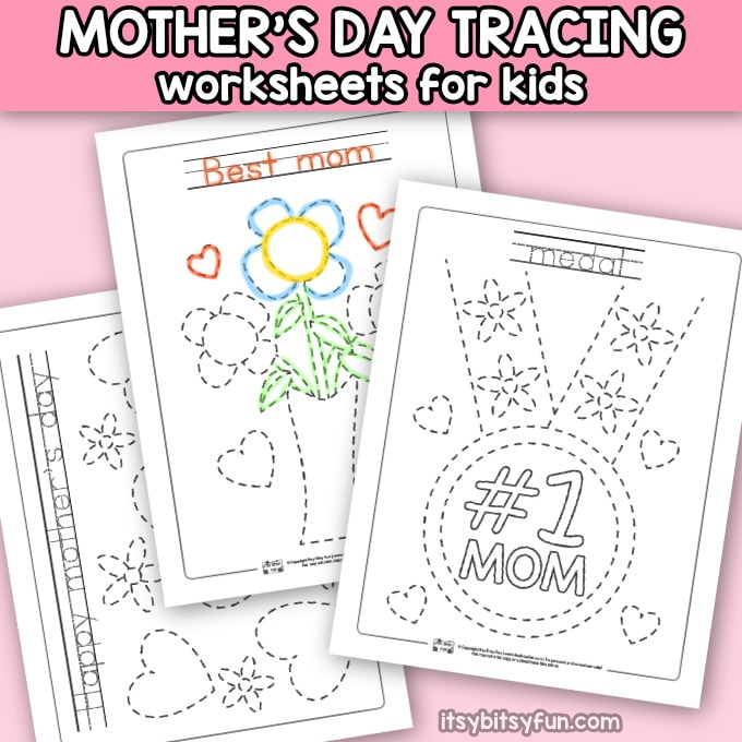 Mother's Day Tracing Coloring Pages for Kids