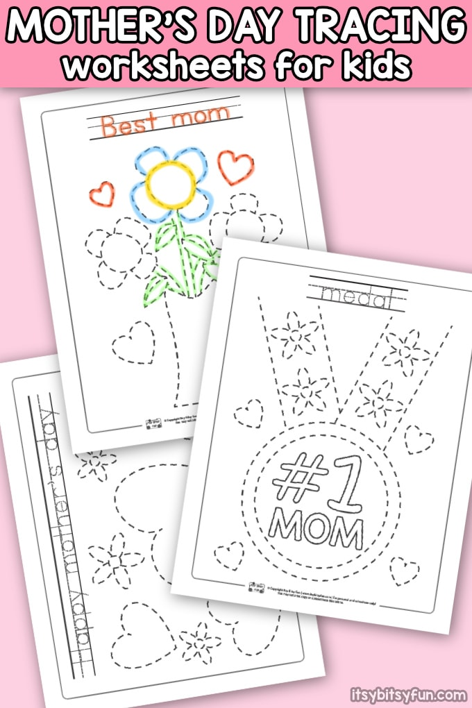 Mother's Day Tracing Worksheets for Kids