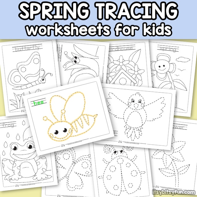 Spring Tracing Coloring Pages for Kids