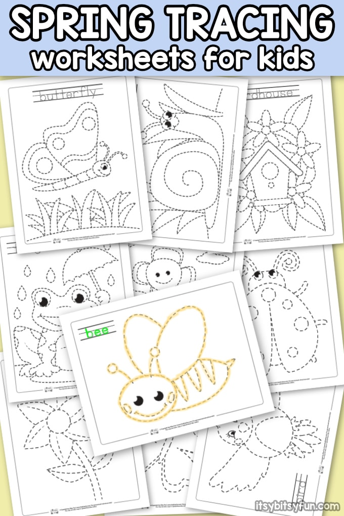 Spring Tracing Worksheets for Kids