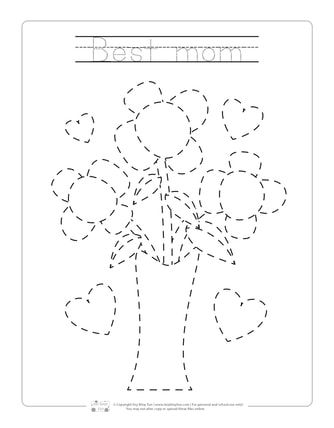 Flower Bouquet Tracing Worksheets for Best Mom