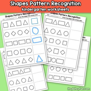 Shapes Pattern Recognition Worksheets for Kindergarten