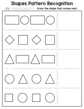 Shapes Pattern Recognition Worksheets