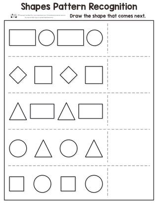 Shapes Pattern Recognition Worksheets
