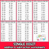 Single Digit Addition and Subtraction Worksheet