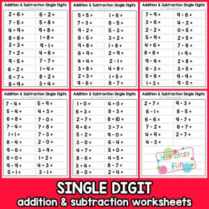Single Digit Addition and Subtraction Worksheet for Kids