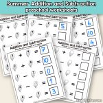 Summer Addition and Subtraction Worksheets for Preschool