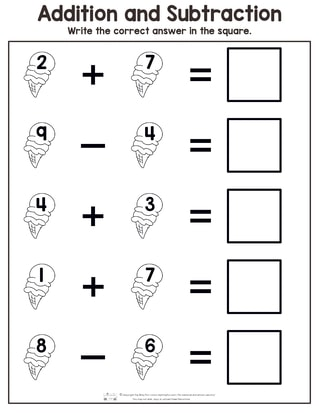 Summer Addition and Subtraction Worksheets - Itsy Bitsy Fun