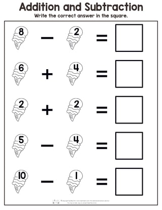 Summer Addition and Subtraction Worksheets - itsybitsyfun.com