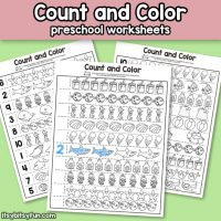 Summer Count and Color Preschool Worksheets
