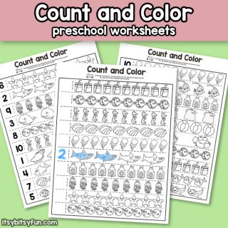 Summer Count and Color Worksheets